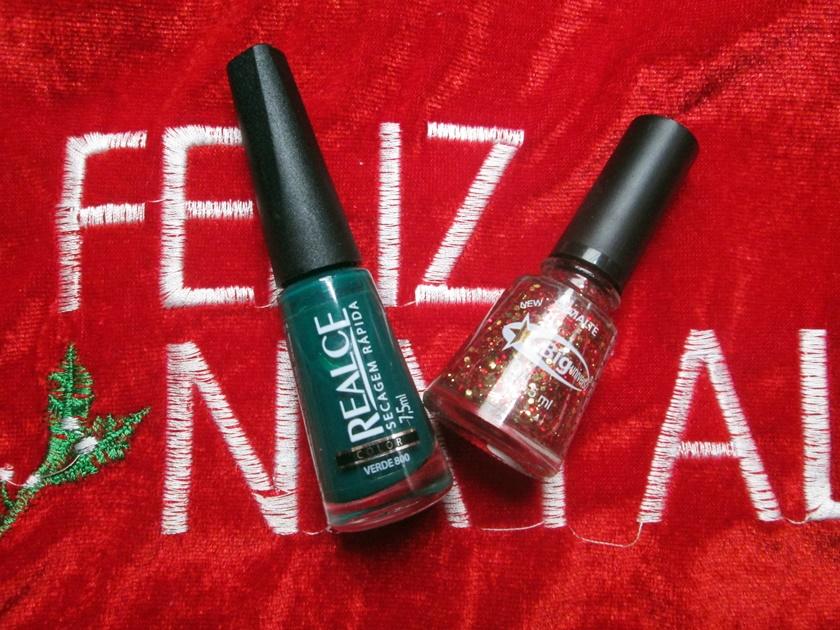 Unhas da semana -Natal -esmalte verde realce-big universo espanha- Blog Dikas e diy
